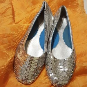 Shoes - Silver Sequin Flats